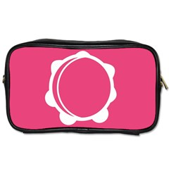 Circle White Pink Toiletries Bags by Mariart