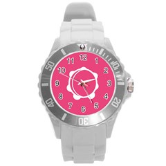 Circle White Pink Round Plastic Sport Watch (l) by Mariart