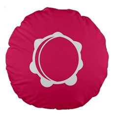 Circle White Pink Large 18  Premium Round Cushions by Mariart