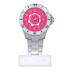 Circle White Pink Plastic Nurses Watch by Mariart