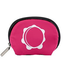 Circle White Pink Accessory Pouches (small)  by Mariart