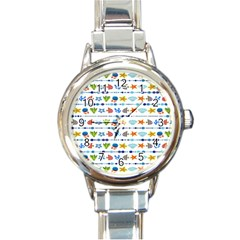 Coral Reef Fish Coral Star Round Italian Charm Watch