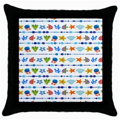 Coral Reef Fish Coral Star Throw Pillow Case (black) by Mariart