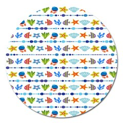 Coral Reef Fish Coral Star Magnet 5  (round) by Mariart