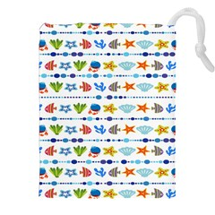 Coral Reef Fish Coral Star Drawstring Pouches (xxl) by Mariart