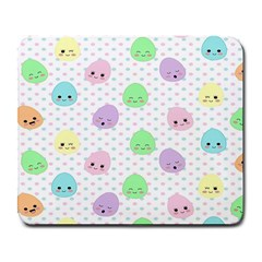 Egg Easter Smile Face Cute Babby Kids Dot Polka Rainbow Large Mousepads by Mariart