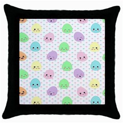 Egg Easter Smile Face Cute Babby Kids Dot Polka Rainbow Throw Pillow Case (black) by Mariart