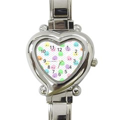 Egg Easter Smile Face Cute Babby Kids Dot Polka Rainbow Heart Italian Charm Watch by Mariart