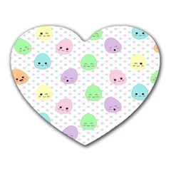 Egg Easter Smile Face Cute Babby Kids Dot Polka Rainbow Heart Mousepads by Mariart