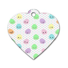 Egg Easter Smile Face Cute Babby Kids Dot Polka Rainbow Dog Tag Heart (one Side) by Mariart