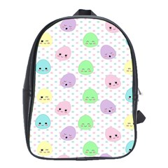 Egg Easter Smile Face Cute Babby Kids Dot Polka Rainbow School Bags(large)