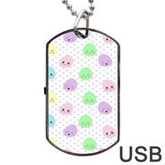 Egg Easter Smile Face Cute Babby Kids Dot Polka Rainbow Dog Tag Usb Flash (one Side)