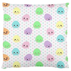 Egg Easter Smile Face Cute Babby Kids Dot Polka Rainbow Large Cushion Case (one Side) by Mariart