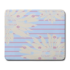 Flower Floral Sunflower Line Horizontal Pink White Blue Large Mousepads by Mariart