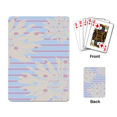 Flower Floral Sunflower Line Horizontal Pink White Blue Playing Card by Mariart