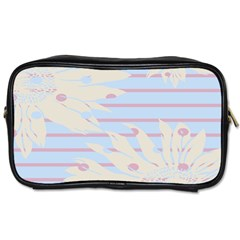 Flower Floral Sunflower Line Horizontal Pink White Blue Toiletries Bags
