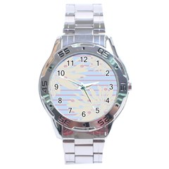 Flower Floral Sunflower Line Horizontal Pink White Blue Stainless Steel Analogue Watch by Mariart