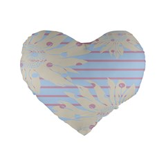 Flower Floral Sunflower Line Horizontal Pink White Blue Standard 16  Premium Flano Heart Shape Cushions by Mariart