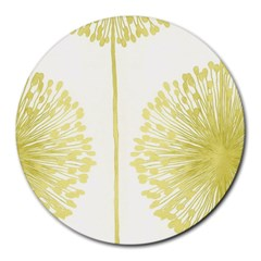 Flower Floral Yellow Round Mousepads by Mariart