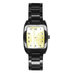 Flower Floral Yellow Stainless Steel Barrel Watch by Mariart