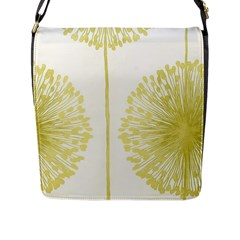 Flower Floral Yellow Flap Messenger Bag (l)  by Mariart