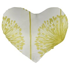 Flower Floral Yellow Large 19  Premium Flano Heart Shape Cushions by Mariart