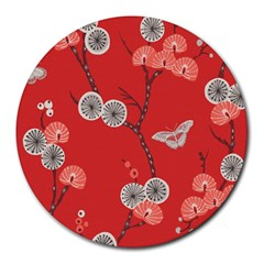 Dandelions Red Butterfly Flower Floral Round Mousepads by Mariart