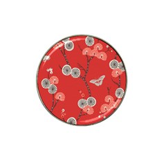 Dandelions Red Butterfly Flower Floral Hat Clip Ball Marker by Mariart