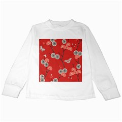 Dandelions Red Butterfly Flower Floral Kids Long Sleeve T Shirts by Mariart