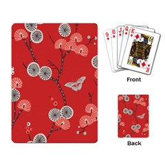 Dandelions Red Butterfly Flower Floral Playing Card by Mariart