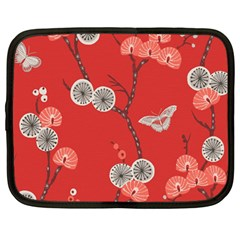 Dandelions Red Butterfly Flower Floral Netbook Case (large) by Mariart