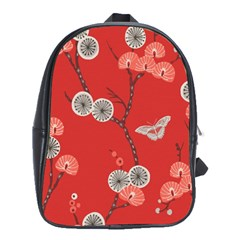 Dandelions Red Butterfly Flower Floral School Bags(large)