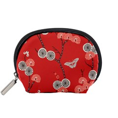 Dandelions Red Butterfly Flower Floral Accessory Pouches (small)  by Mariart