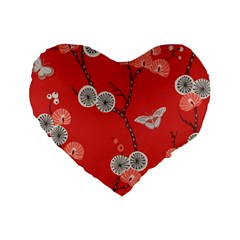 Dandelions Red Butterfly Flower Floral Standard 16  Premium Flano Heart Shape Cushions by Mariart