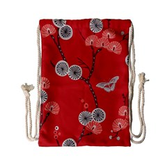 Dandelions Red Butterfly Flower Floral Drawstring Bag (small) by Mariart