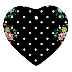 Flower Frame Floral Polkadot White Black Ornament (heart) by Mariart
