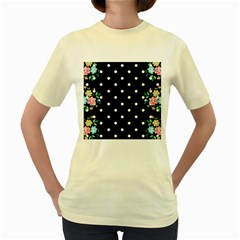 Flower Frame Floral Polkadot White Black Women s Yellow T Shirt