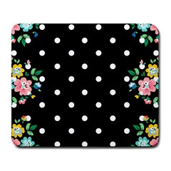 Flower Frame Floral Polkadot White Black Large Mousepads by Mariart