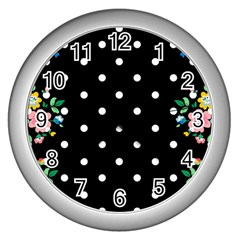 Flower Frame Floral Polkadot White Black Wall Clocks (silver)  by Mariart