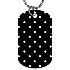 Flower Frame Floral Polkadot White Black Dog Tag (one Side) by Mariart