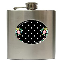 Flower Frame Floral Polkadot White Black Hip Flask (6 Oz) by Mariart