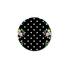 Flower Frame Floral Polkadot White Black Golf Ball Marker by Mariart