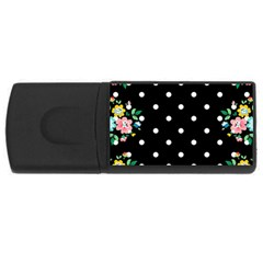 Flower Frame Floral Polkadot White Black Usb Flash Drive Rectangular (4 Gb) by Mariart