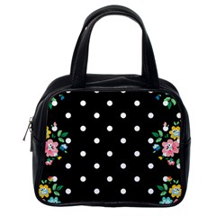 Flower Frame Floral Polkadot White Black Classic Handbags (one Side) by Mariart
