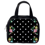 Flower Frame Floral Polkadot White Black Classic Handbags (2 Sides) Back