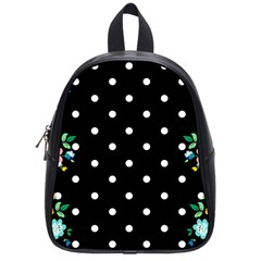 Flower Frame Floral Polkadot White Black School Bags (small)  by Mariart