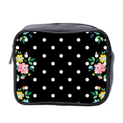 Flower Frame Floral Polkadot White Black Mini Toiletries Bag 2 Side by Mariart