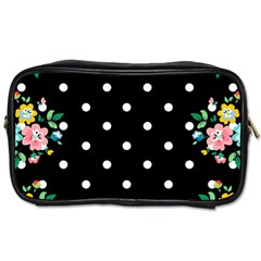 Flower Frame Floral Polkadot White Black Toiletries Bags 2 Side by Mariart