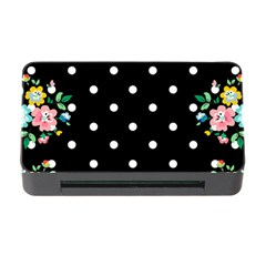Flower Frame Floral Polkadot White Black Memory Card Reader With Cf by Mariart