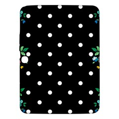 Flower Frame Floral Polkadot White Black Samsung Galaxy Tab 3 (10 1 ) P5200 Hardshell Case  by Mariart